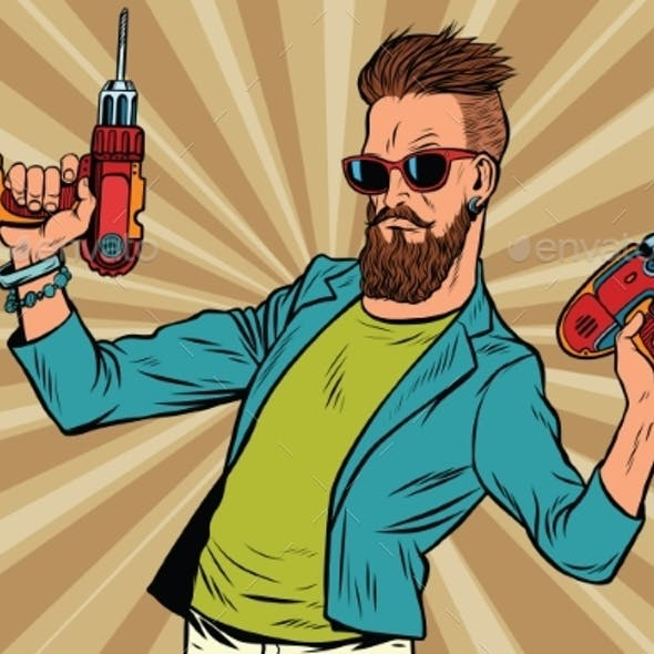 Hipster Repairman with a Drill