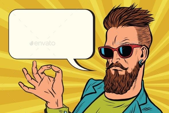 Okay Gesture Hipster - People Characters