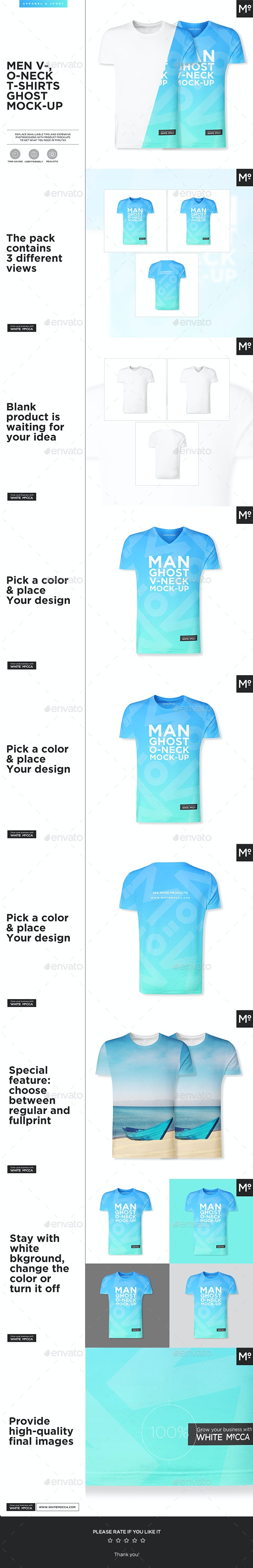 V- & O-Neck Ghost T-shirt Mock-up - T-shirts Apparel