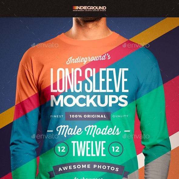Men Long Sleeve T-Shirt Mockups
