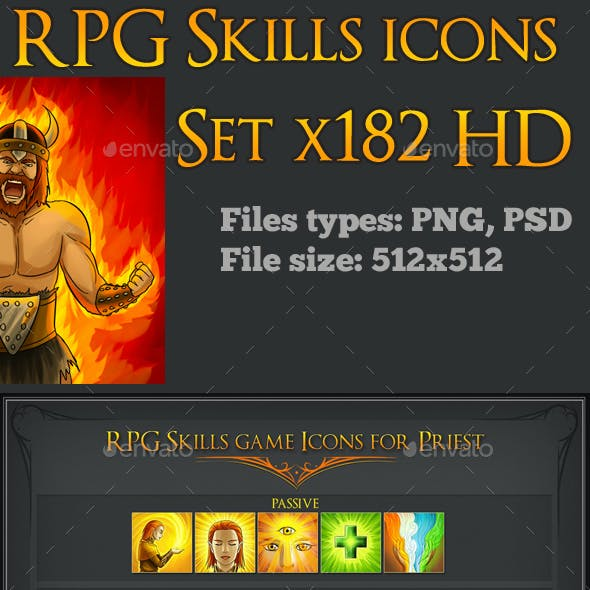 182 RPG Skills Icons Collection