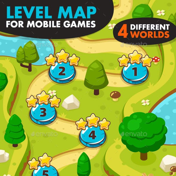 Game Level Map with 4 Different Worlds