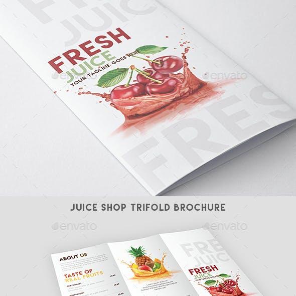 Trifold Brochure - Juice Shop Menu