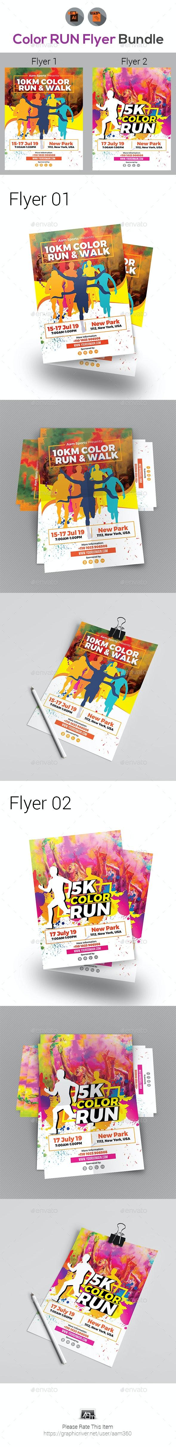 Color Run Festival Flyers Bundle - Events Flyers