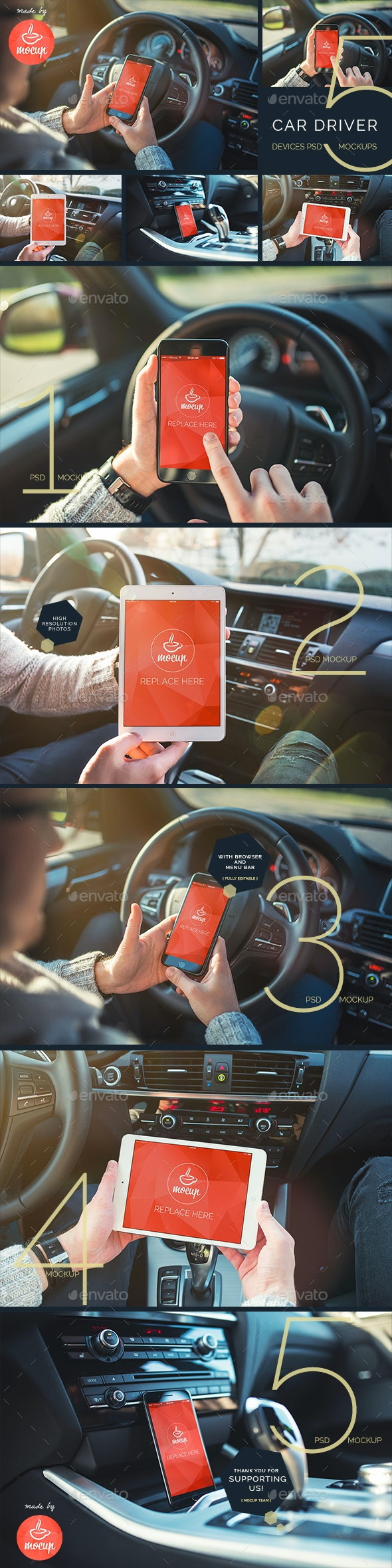 5 PSD Car Driver Responsive Phone and Tablet Mockups - Mobile Displays