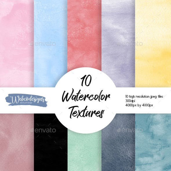 10 Watercolor Textures - High-resolution