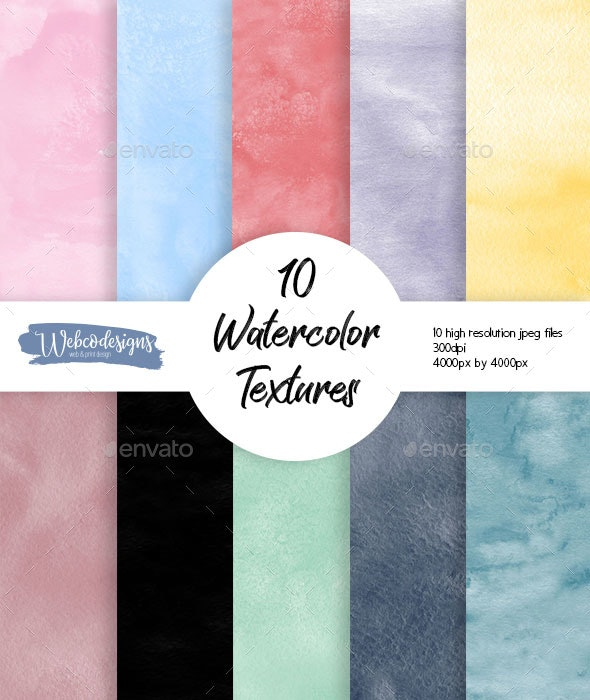10 Watercolor Textures - High-resolution - Paper Textures
