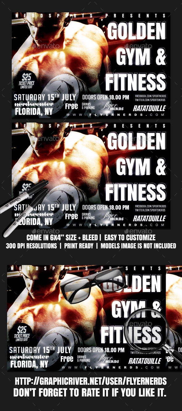 Golden Gymnasium and Fitness Sports Flyer - Sports Events