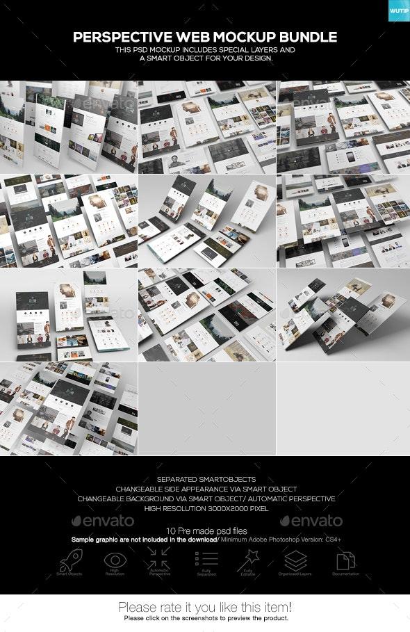 Perspective Web Mockup Bundle - Website Displays