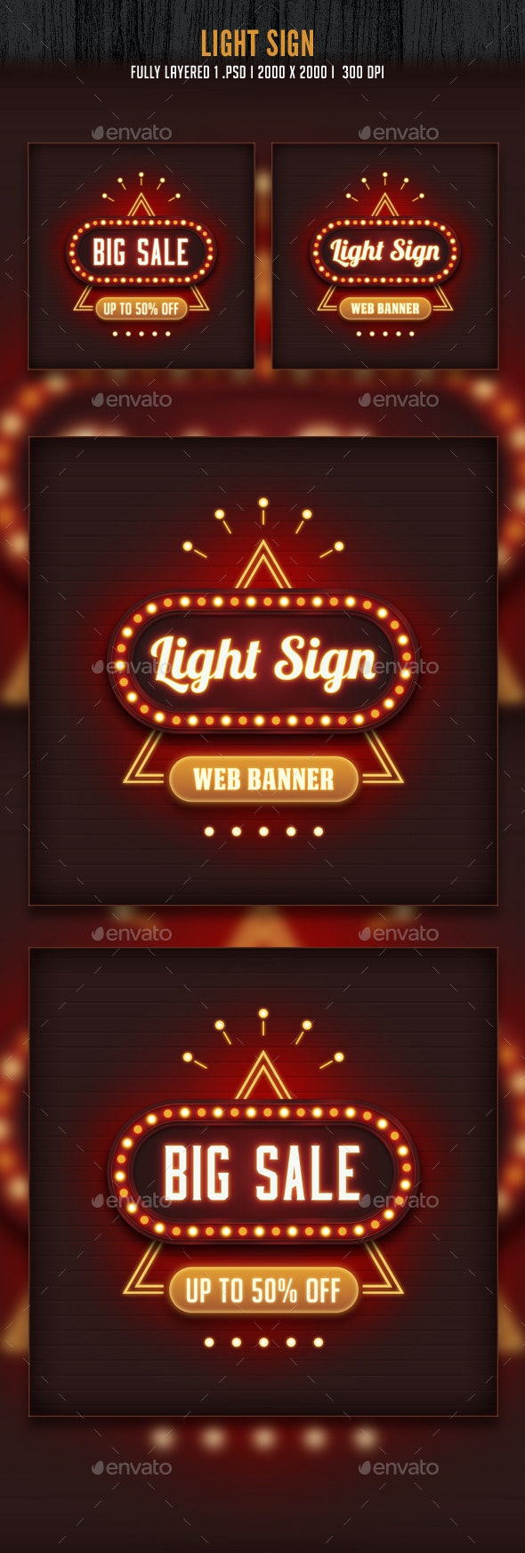 Light Sign Banner - Banners & Ads Web Elements