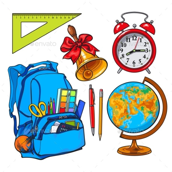 Backpack Packed with School Items, Alarm Clock - Miscellaneous Vectors