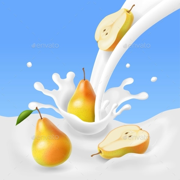 Pear Falling Into the Milk Splash. - Food Objects