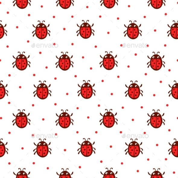 Vector Seamless Pattern with Red Ladybug. - Animals Characters
