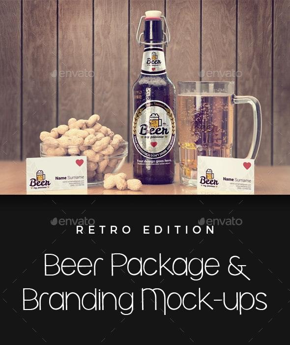 Craft Beer Package & Branding Mock-up - Retro Edition - Food and Drink Packaging