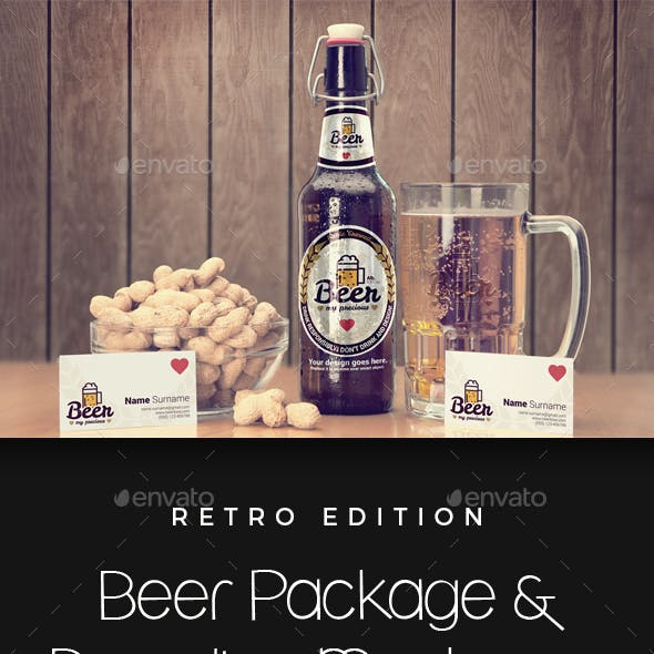 Craft Beer Package & Branding Mock-up - Retro Edition