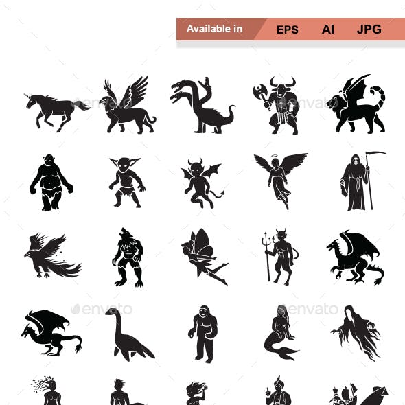 Mythical Creatures Vector Icons
