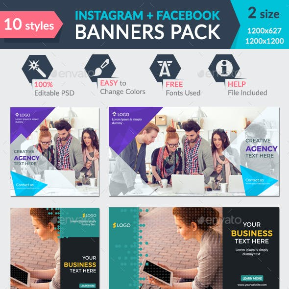 Facebook + Instagram Banners Pack-2