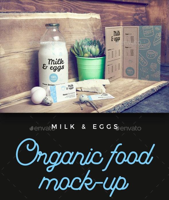 Organic Food Photo Mockup / Milk & Eggs - Food and Drink Packaging
