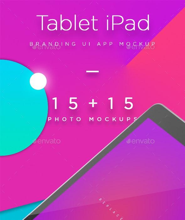 iPad Tablet UI App Mockups with Vivid Backgrounds - Mobile Displays