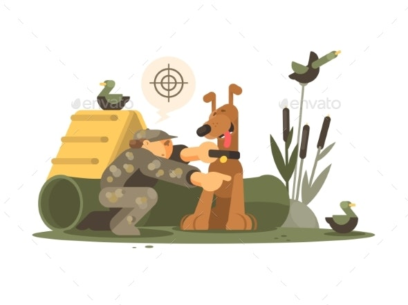 Cynologist Training Hunting Dog - People Characters