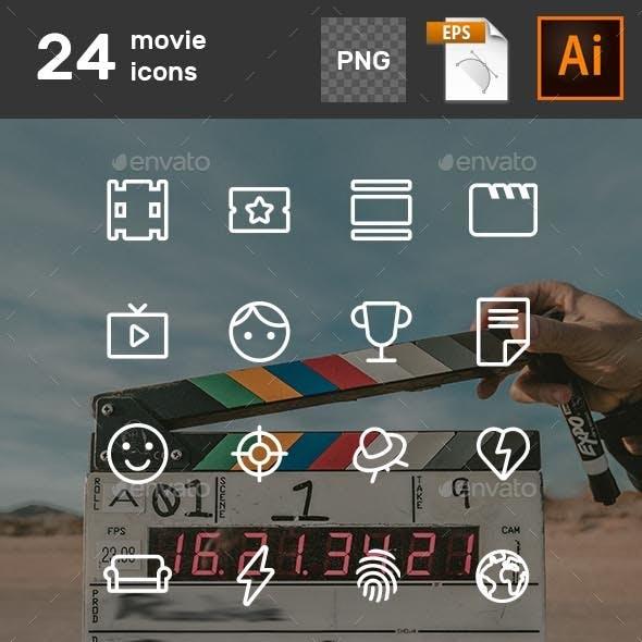 24 Movie Icons Set