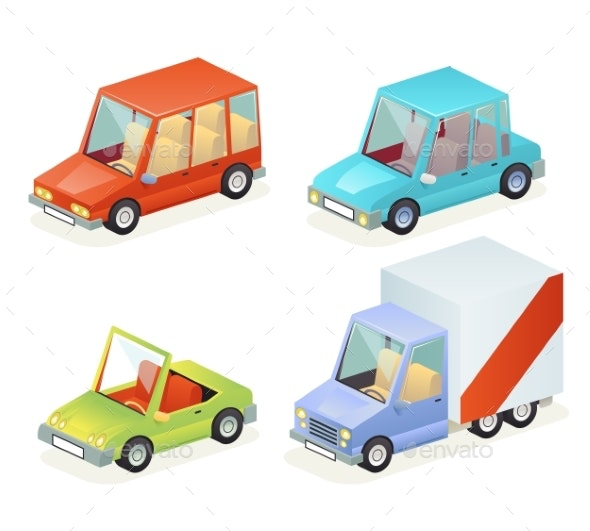 Isometric Car Vehicle Transport Icons Set Design - Man-made Objects Objects