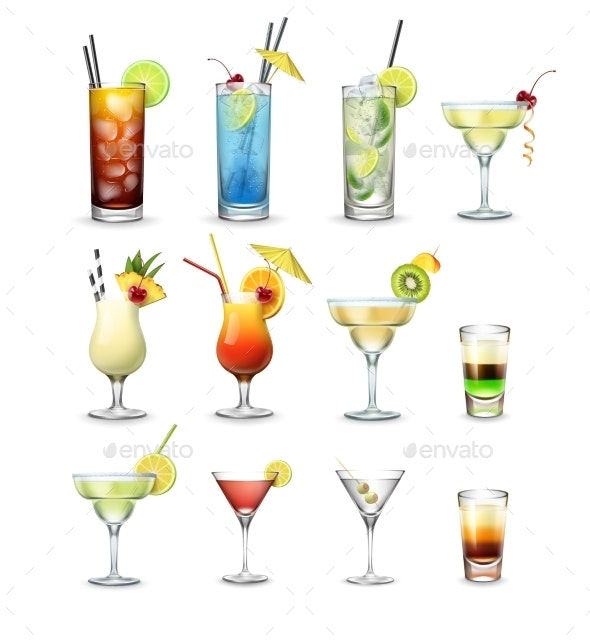 Set of Cocktails - Food Objects