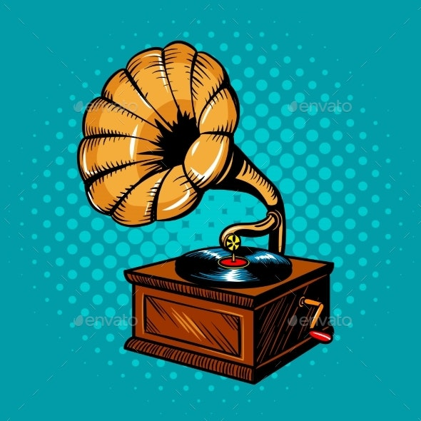 Gramophone Comic Book Style Vector Illustration - Man-made Objects Objects