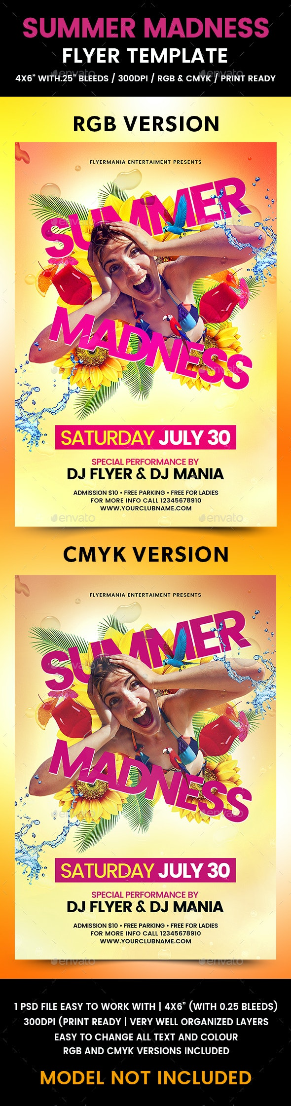 Summer Madness Flyer Template - Flyers Print Templates