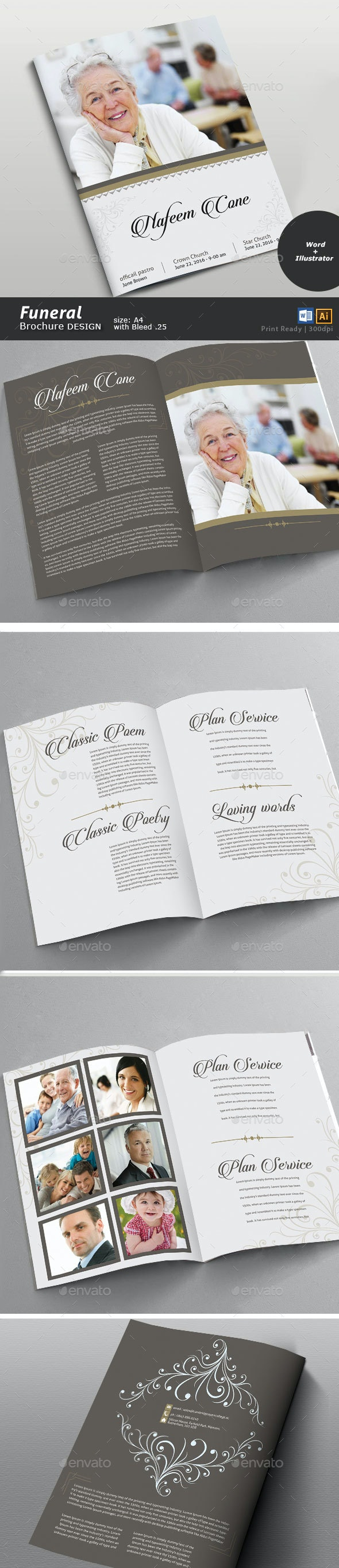 Funeral Brochure Design - Brochures Print Templates