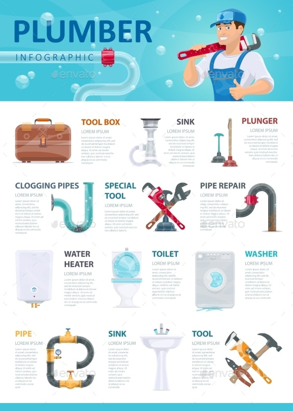 Professional Plumber Service Infographic Template - Services Commercial / Shopping