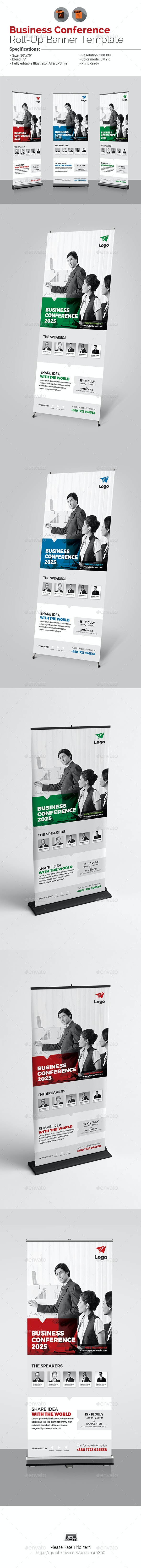 Conference or Event Roll-Up Banner - Signage Print Templates