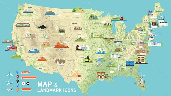 Map Of America Rockford.Usa Vector Map And Us Landmark Icons By Dem G Graphicriver