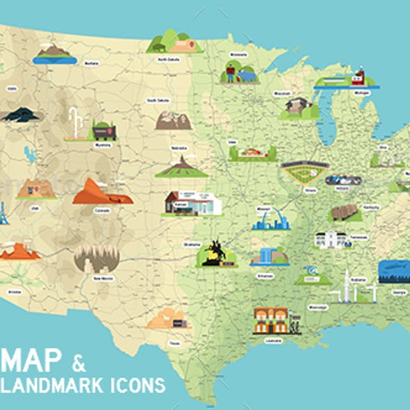 USA Vector Map and US Landmark Icons