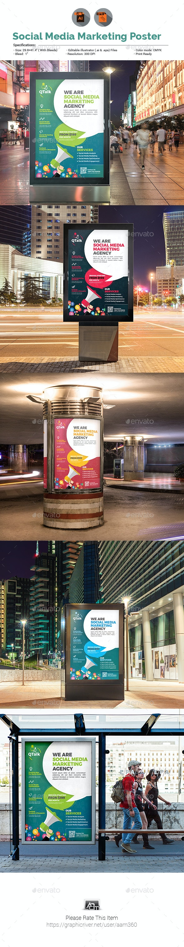 Social Media Marketing Poster V3 - Signage Print Templates