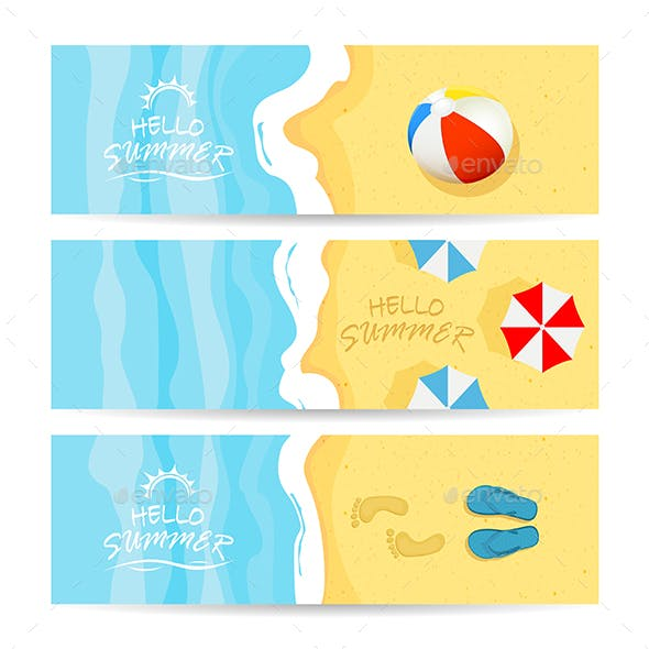 Three Summer Cards with Sea and Sandy Beach