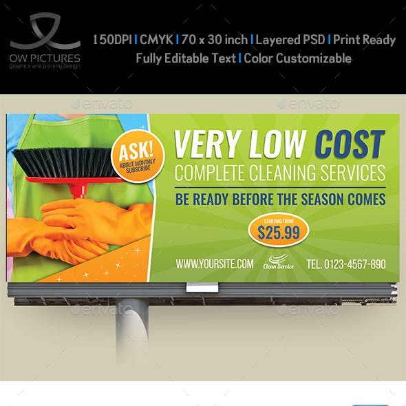 Cleaning Services Billboard Template Vol.3