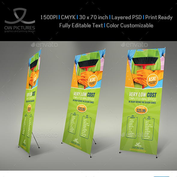 Cleaning Services Signage Roll Up Banner Template Vol.3