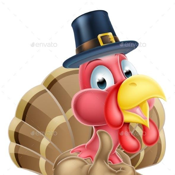 Cartoon Turkey in Pilgrim Hat