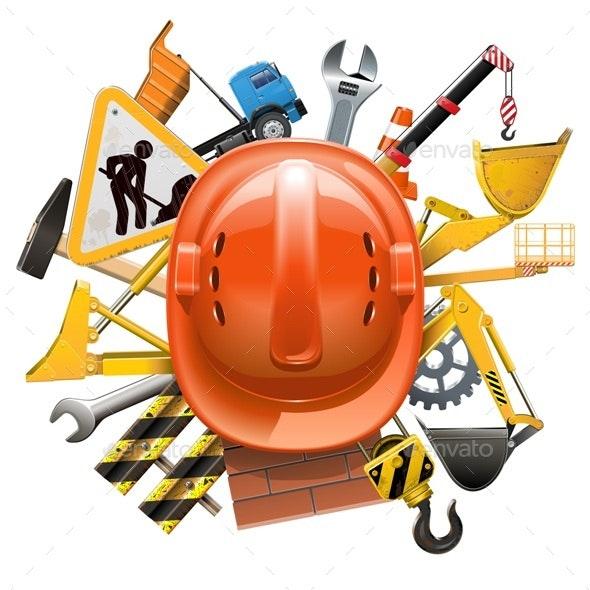 Vector Construction Concept with Helmet - Industries Business