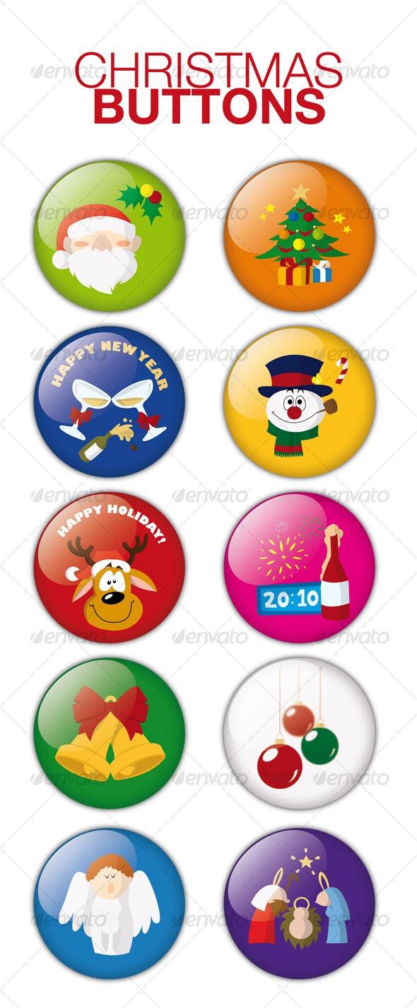 Christmas Buttons - Christmas Seasons/Holidays