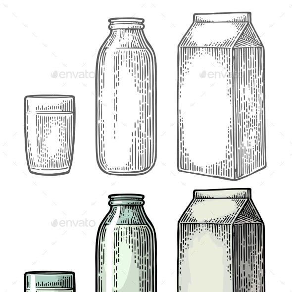 Milk Box Carton Package, Glass and Bottle