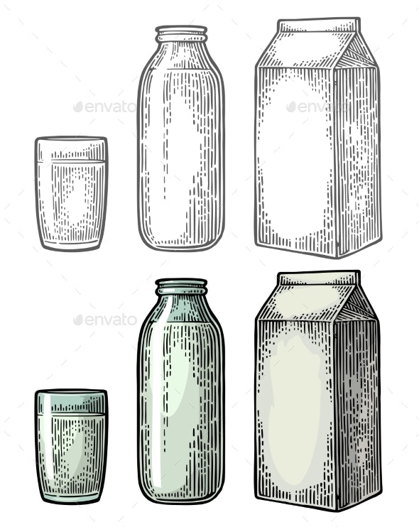 Milk Box Carton Package, Glass and Bottle - Food Objects