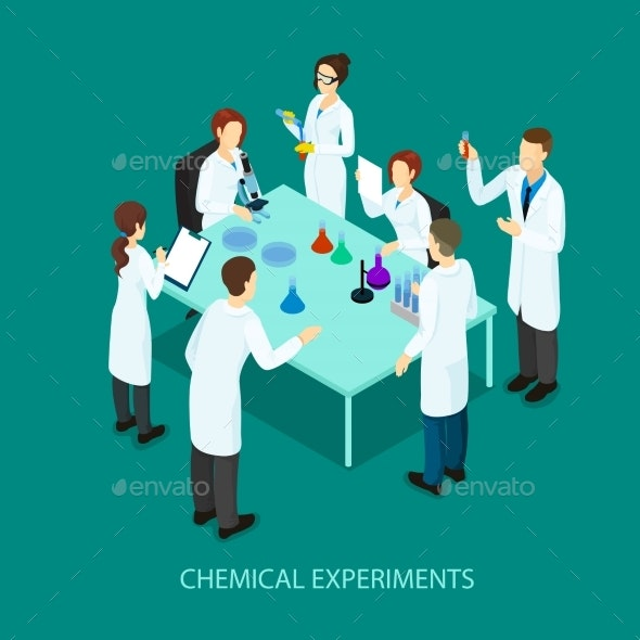 Isometric Chemical Research Template - People Characters