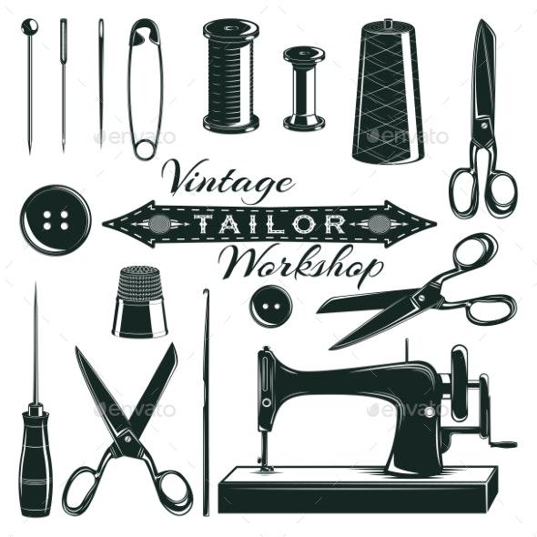 Vintage Tailor Elements Set - Miscellaneous Vectors