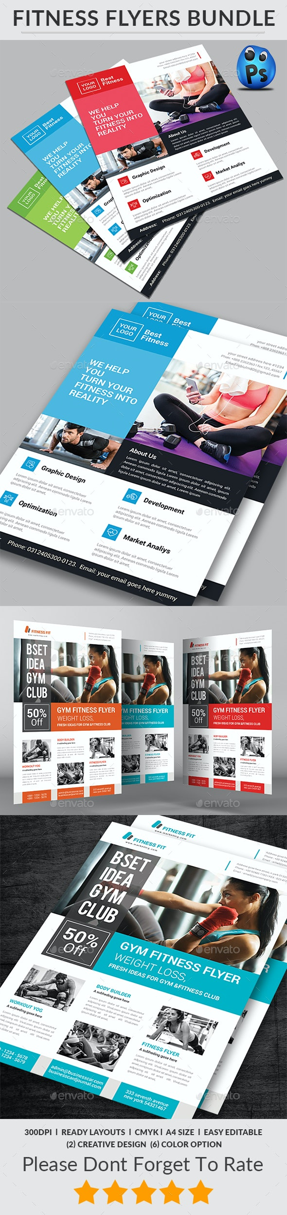 Fitness Flyers Bundle Print Templates - Corporate Flyers