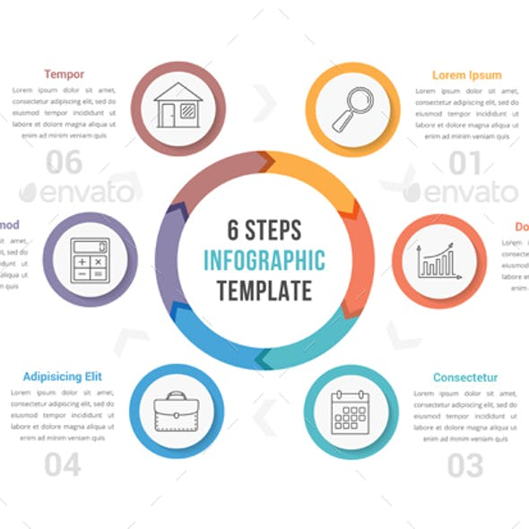 Circle Infographics with Six Steps