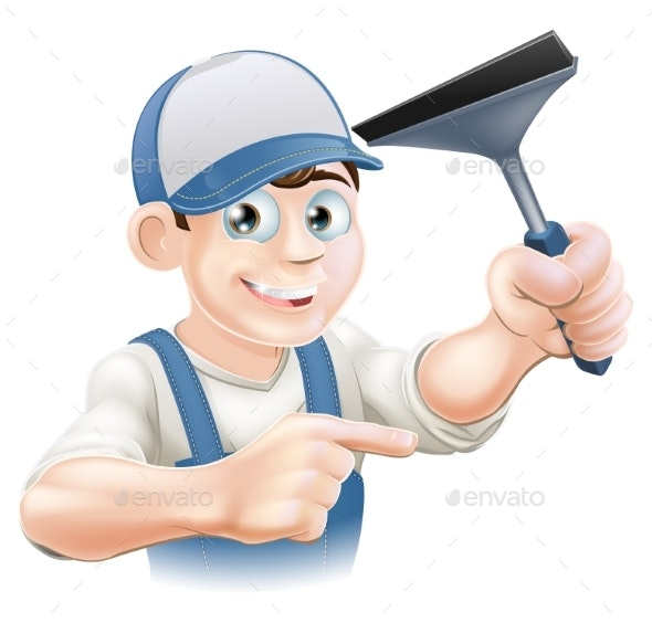 Squeegee Window Cleaner - People Characters