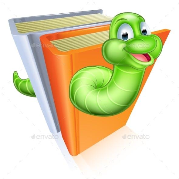 Cartoon Bookworm Concept
