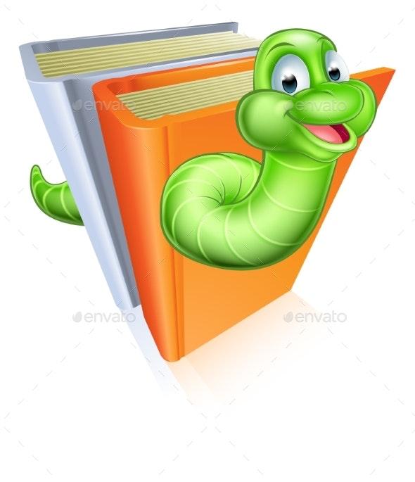 Cartoon Bookworm Concept - Miscellaneous Vectors
